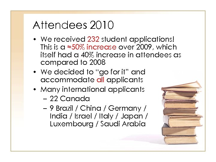 Attendees 2010 • We received 232 student applications! This is a ≈50% increase over