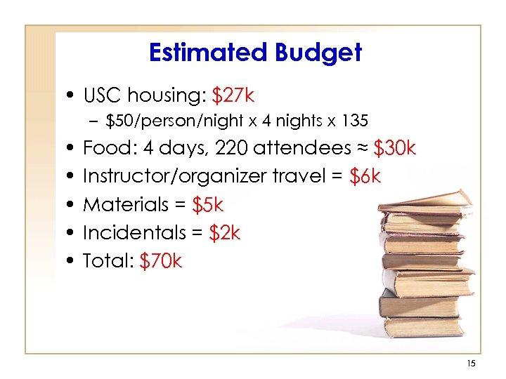 Estimated Budget • USC housing: $27 k – $50/person/night x 4 nights x 135