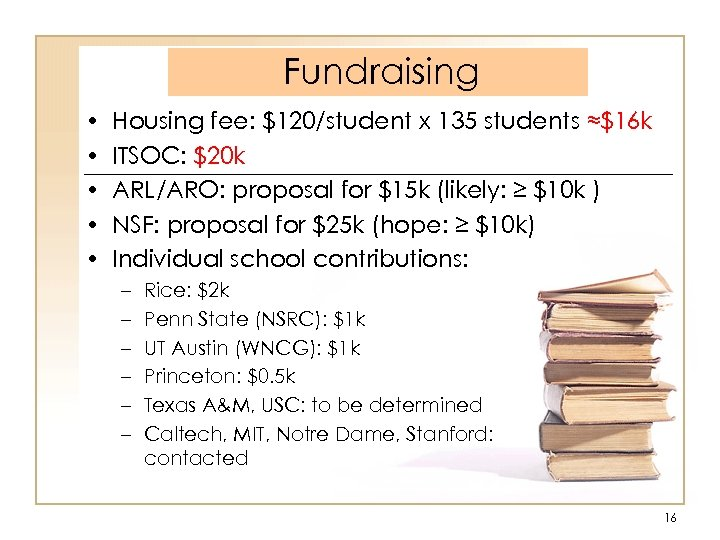 Fundraising • • • Housing fee: $120/student x 135 students ≈$16 k ITSOC: $20