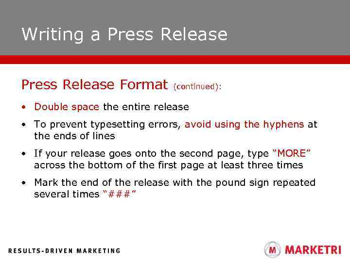 How to write a press release that gets writing a press release format continued double space the entire release thecheapjerseys Gallery