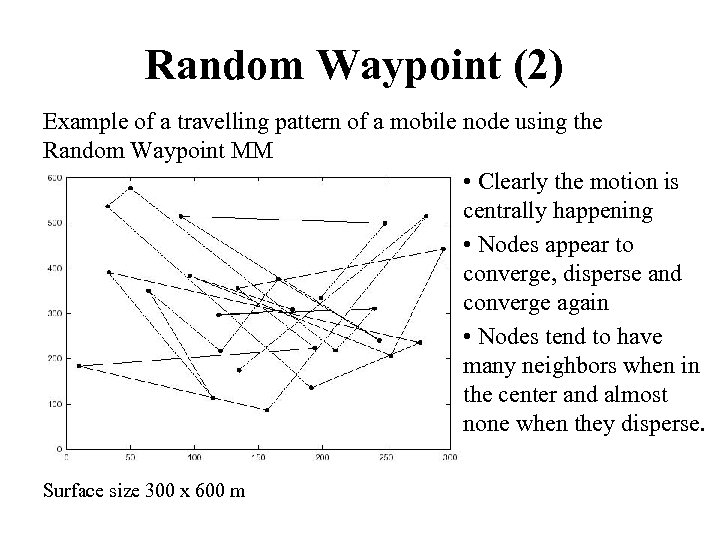 Random Waypoint (2) Example of a travelling pattern of a mobile node using the