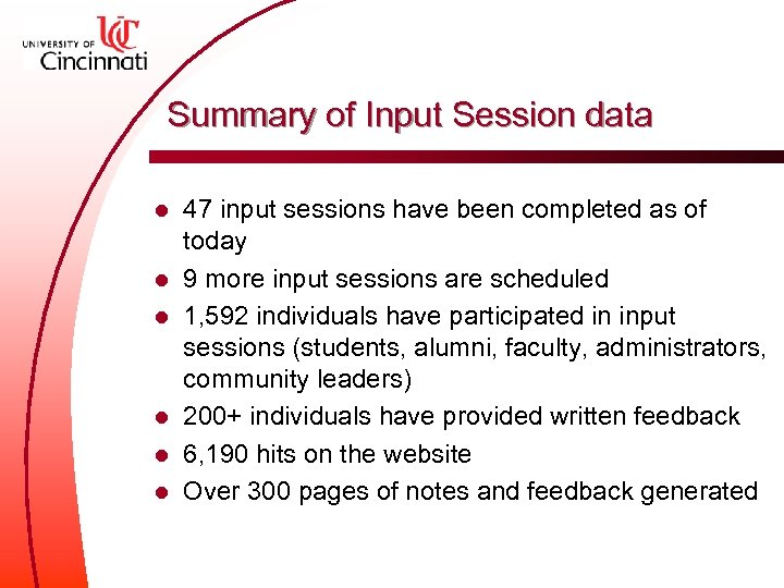 Summary of Input Session data l l l 47 input sessions have been completed