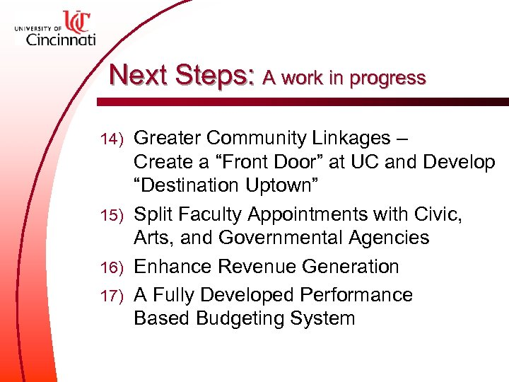 """Next Steps: A work in progress Greater Community Linkages – Create a """"Front Door"""""""