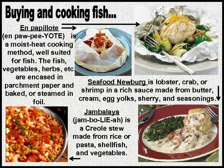 En papillote (en paw-pee-YOTE) is a moist-heat cooking method, well suited for fish. The
