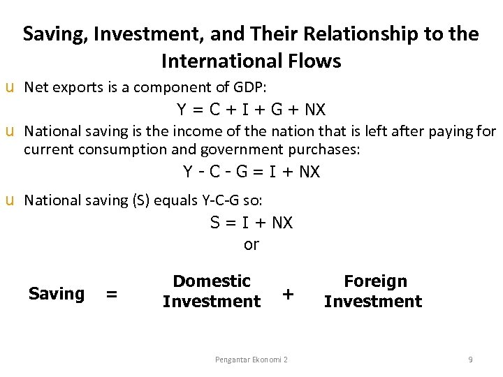 Saving, Investment, and Their Relationship to the International Flows u Net exports is a