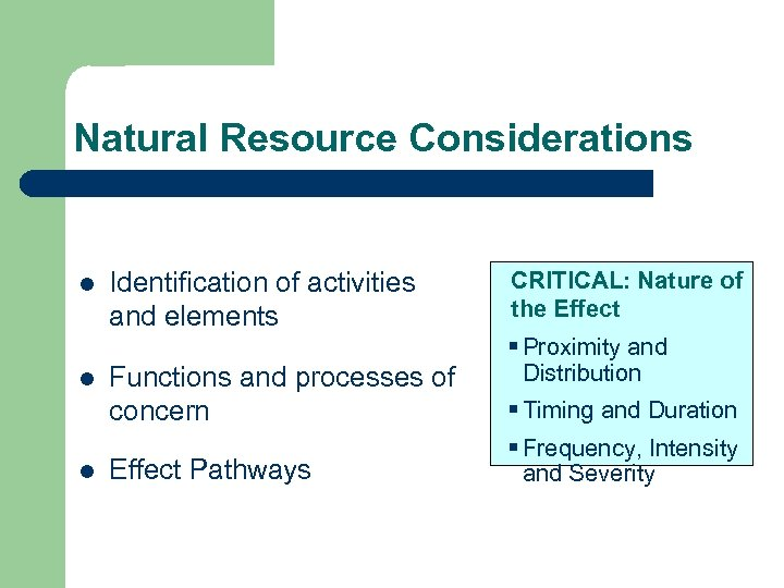 Natural Resource Considerations l l l Identification of activities and elements Functions and processes