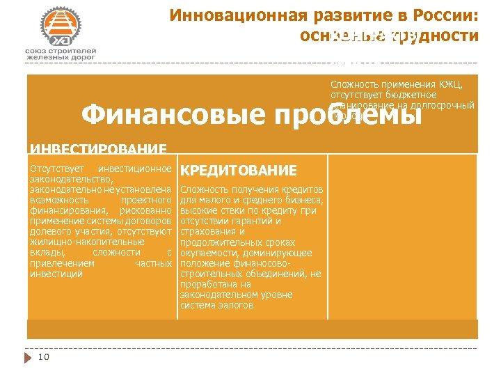 Инновационная развитие в России: КОНТРАКТЫ основные трудности ЖИЗНЕННОГО ЦИКЛА Сложность применения КЖЦ, отсутствует бюджетное