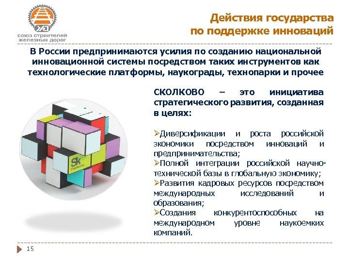 Действия государства по поддержке инноваций В России предпринимаются усилия по созданию национальной инновационной системы