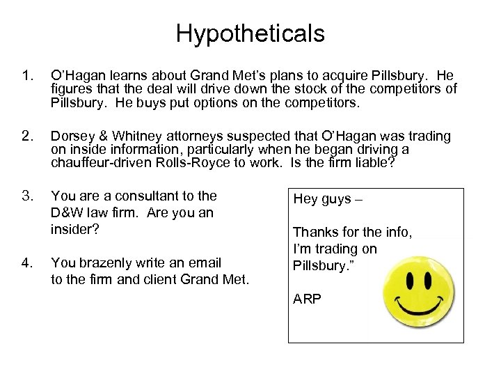 Hypotheticals 1. O'Hagan learns about Grand Met's plans to acquire Pillsbury. He figures that