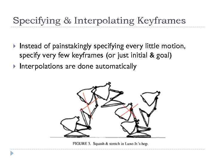 Specifying & Interpolating Keyframes Instead of painstakingly specifying every little motion, specify very few