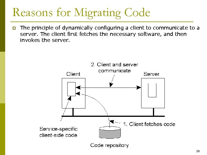 Reasons for Migrating Code p The principle of dynamically configuring a client to communicate