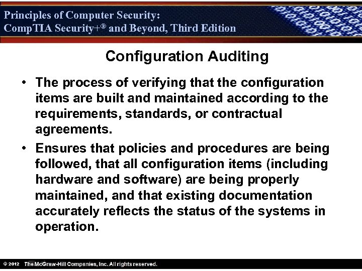 Principles of Computer Security: Comp. TIA Security+® and Beyond, Third Edition Security+ Configuration Auditing