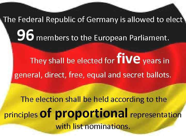 The Federal Republic of Germany is allowed to elect 96 members to the European