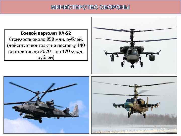 МИНИСТЕРСТВО ОБОРОНЫ Боевой вертолет КА-52 Стоимость около 858 млн. рублей, (действует контракт на поставку