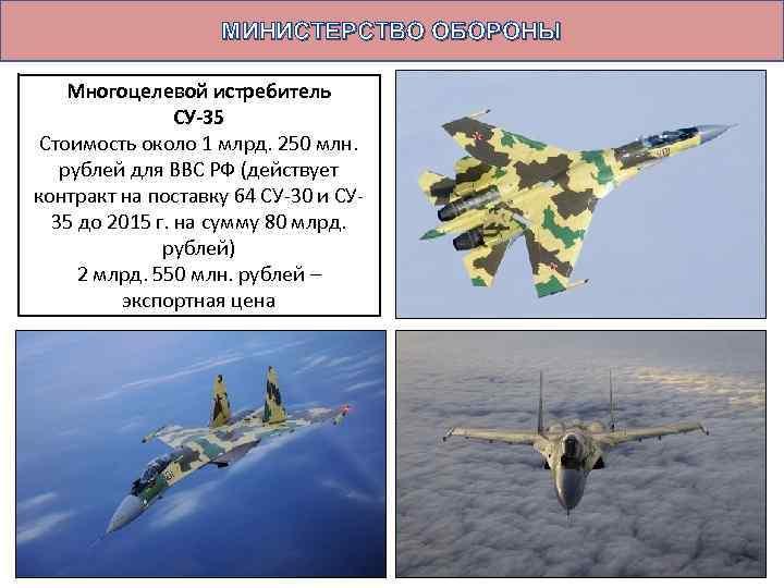 МИНИСТЕРСТВО ОБОРОНЫ Многоцелевой истребитель СУ-35 Стоимость около 1 млрд. 250 млн. рублей для ВВС