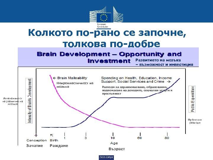 Колкото по-рано се започне, толкова по-добре Развитието на мозъка – възможност и инвестиция Невропластичност