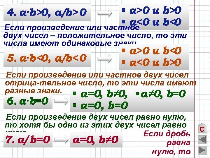 § а>0 u b>0 § а<0 u b<0 Если произведение или частное 4. а·b>0,