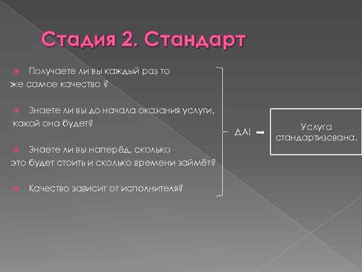 Стадия 2. Стандарт Получаете ли вы каждый раз то же самое качество ? Знаете