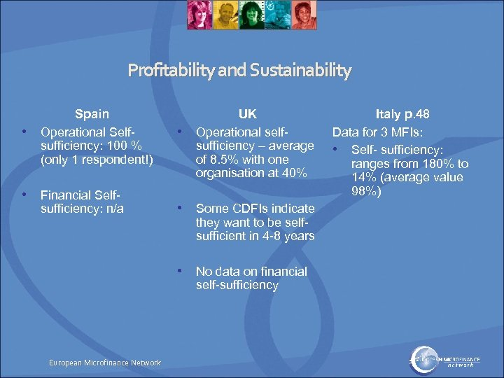 Profitability and Sustainability • Spain Operational Selfsufficiency: 100 % (only 1 respondent!) • Financial