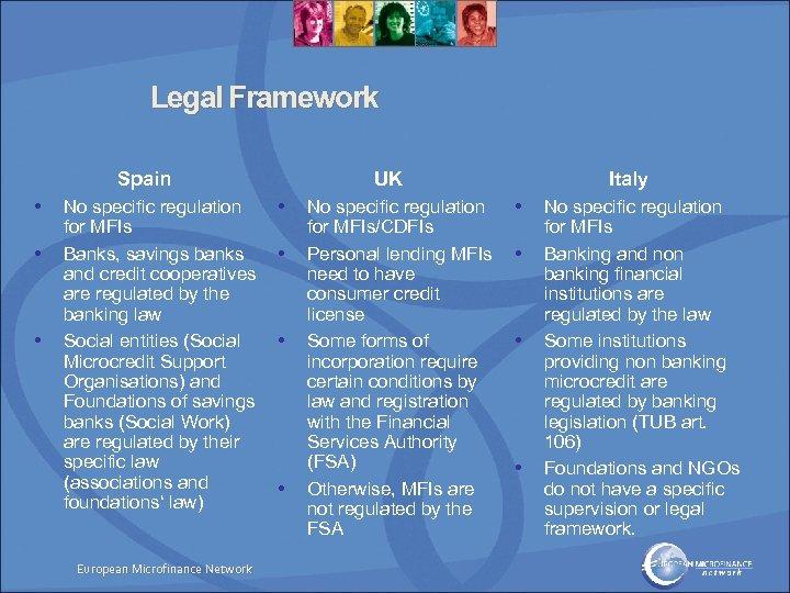 Legal Framework Spain • • • No specific regulation for MFIs Banks, savings banks