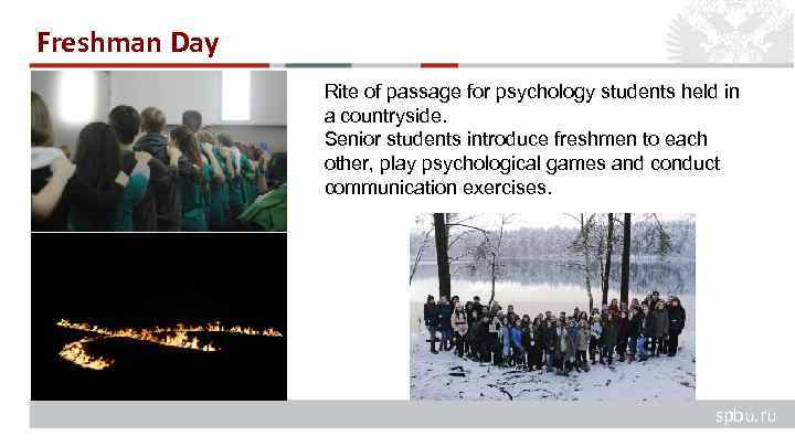 Freshman Day Rite of passage for psychology students held in a countryside. Senior students
