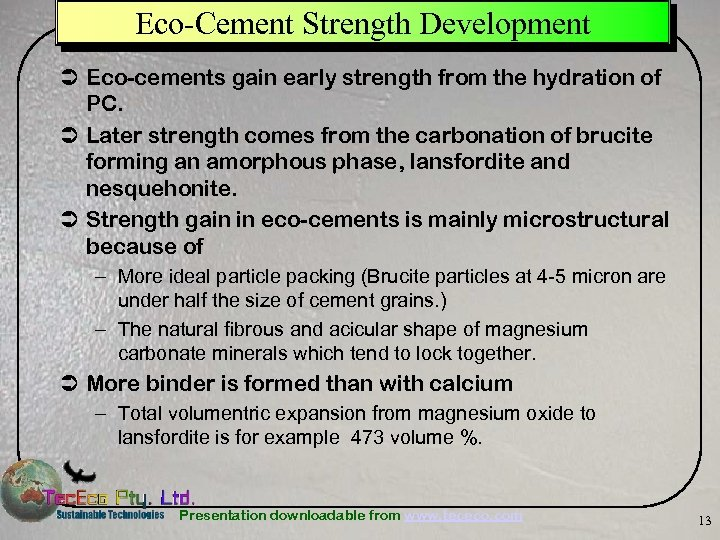 Eco-Cement Strength Development Ü Eco-cements gain early strength from the hydration of PC. Ü