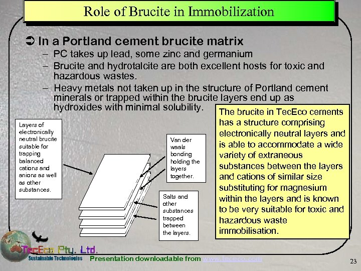 Role of Brucite in Immobilization Ü In a Portland cement brucite matrix – PC