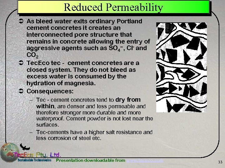 Reduced Permeability Ü As bleed water exits ordinary Portland cement concretes it creates an