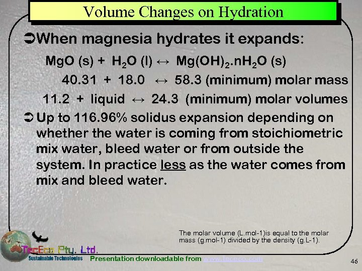 Volume Changes on Hydration ÜWhen magnesia hydrates it expands: Mg. O (s) + H