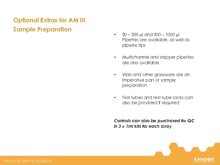 Optional Extras for AM III Sample Preparation • 20 – 200 µl and 200