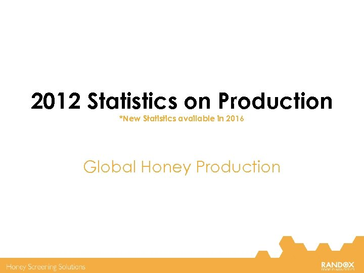 2012 Statistics on Production *New Statistics available in 2016 Global Honey Production