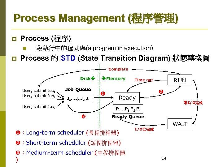 Process Management (程序管理) p Process (程序) n p 一段執行中的程式碼(a program in execution) Process 的