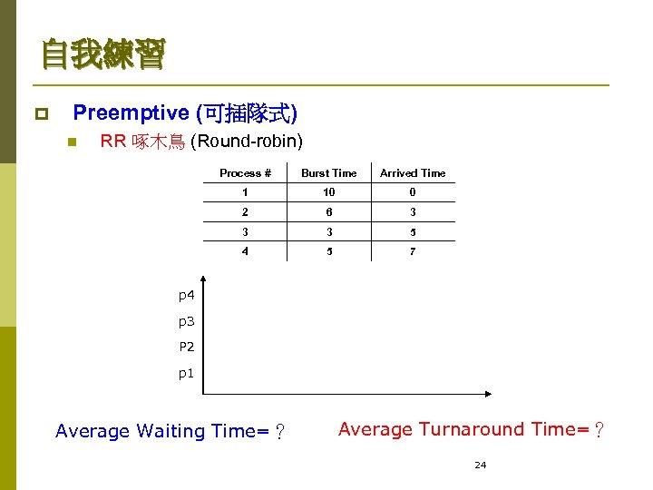 自我練習 p Preemptive (可插隊式) n RR 啄木鳥 (Round-robin) Process # Burst Time Arrived Time