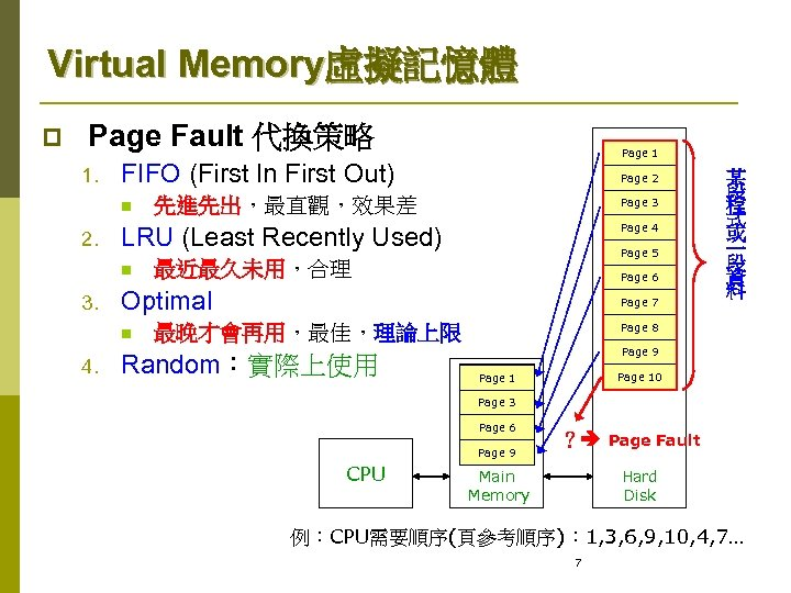 Virtual Memory虛擬記憶體 p Page Fault 代換策略 1. FIFO (First In First Out) n 2.