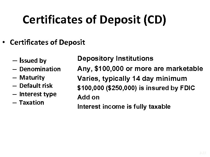 Certificates of Deposit (CD) • Certificates of Deposit – Issued by – – –