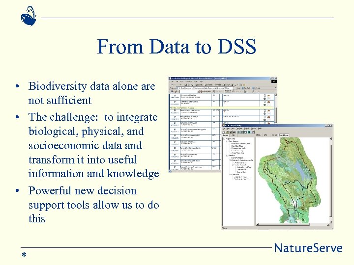 From Data to DSS • Biodiversity data alone are not sufficient • The challenge: