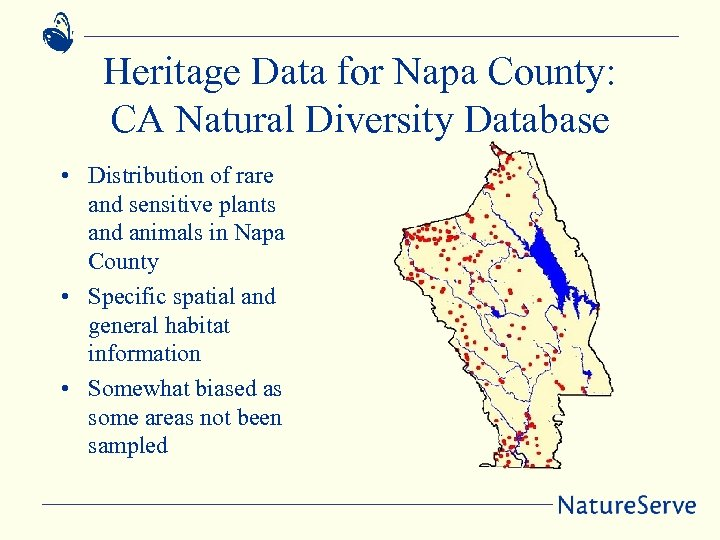 Heritage Data for Napa County: CA Natural Diversity Database • Distribution of rare and