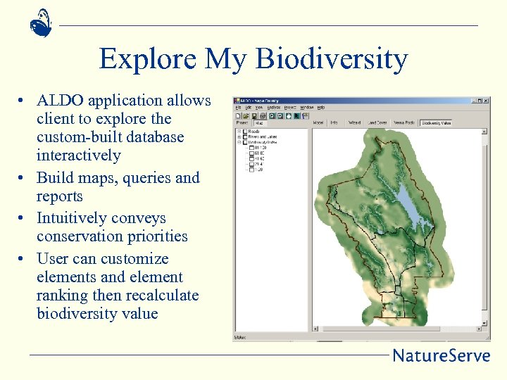 Explore My Biodiversity • ALDO application allows client to explore the custom-built database interactively