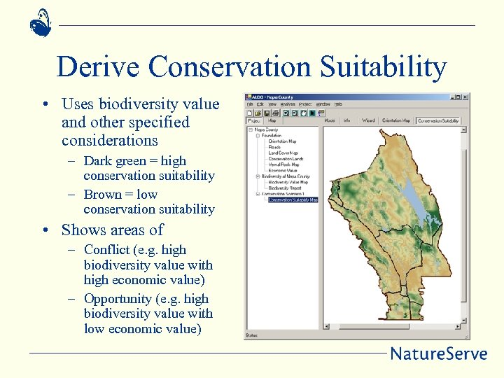 Derive Conservation Suitability • Uses biodiversity value and other specified considerations – Dark green