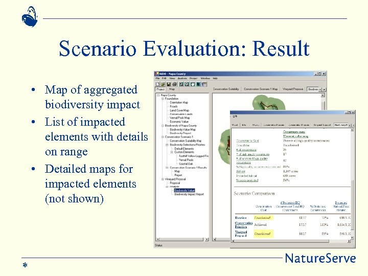 Scenario Evaluation: Result • Map of aggregated biodiversity impact • List of impacted elements