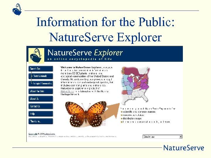 Information for the Public: Nature. Serve Explorer