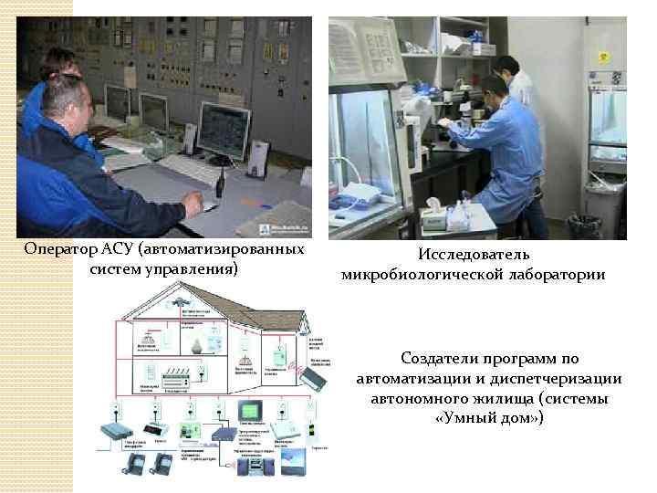 Оператор АСУ (автоматизированных систем управления) Исследователь микробиологической лаборатории Создатели программ по автоматизации и диспетчеризации
