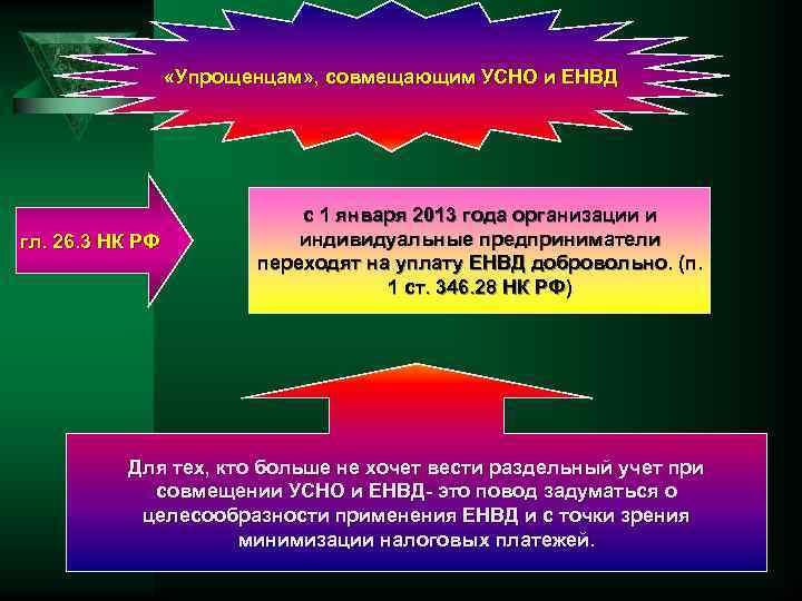 «Упрощенцам» , совмещающим УСНО и ЕНВД гл. 26. 3 НК РФ с 1