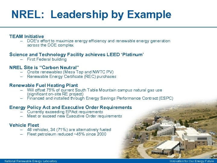 NREL: Leadership by Example TEAM Initiative – DOE's effort to maximize energy efficiency and