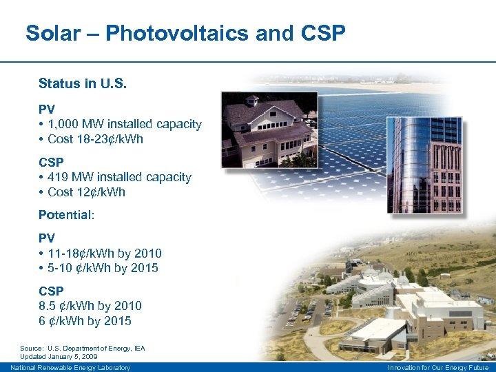 Solar – Photovoltaics and CSP Status in U. S. PV • 1, 000 MW