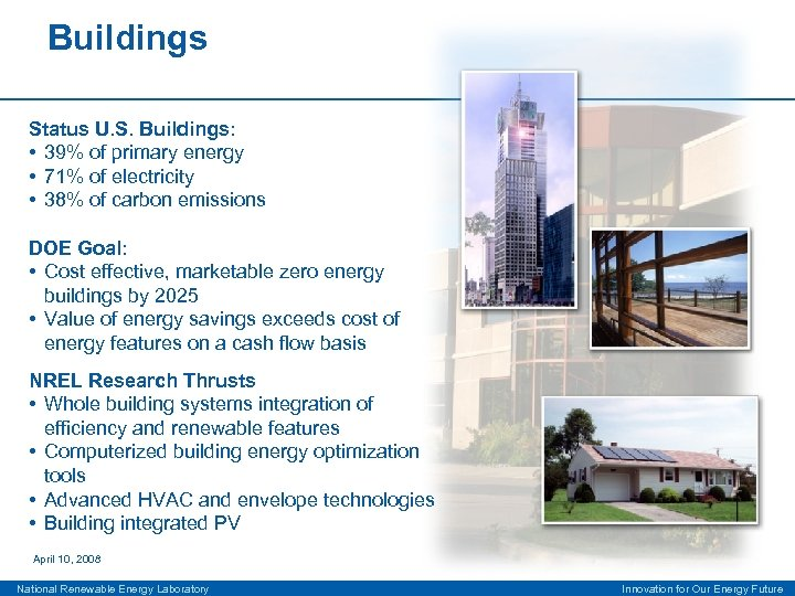 Buildings Status U. S. Buildings: • 39% of primary energy • 71% of electricity