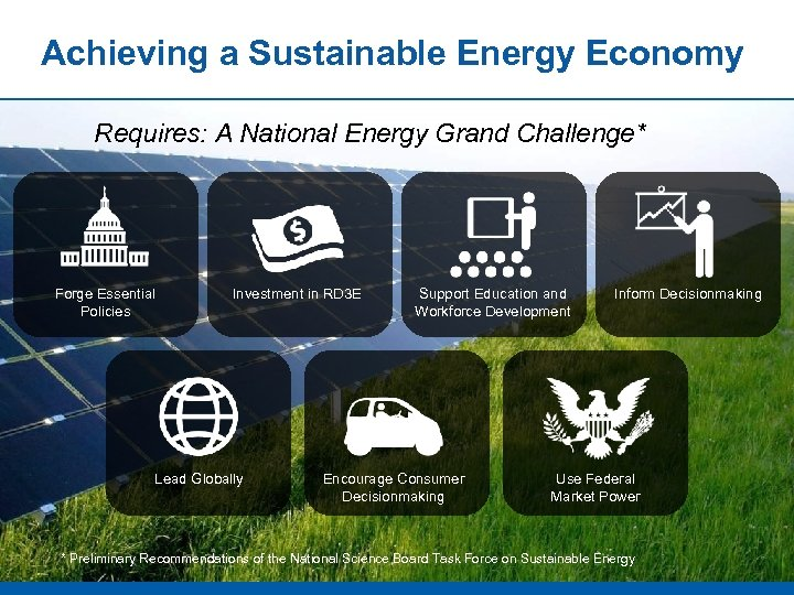 Achieving a Sustainable Energy Economy Requires: A National Energy Grand Challenge* Forge Essential Policies
