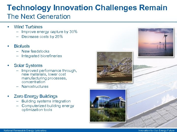 Technology Innovation Challenges Remain The Next Generation • Wind Turbines – Improve energy capture