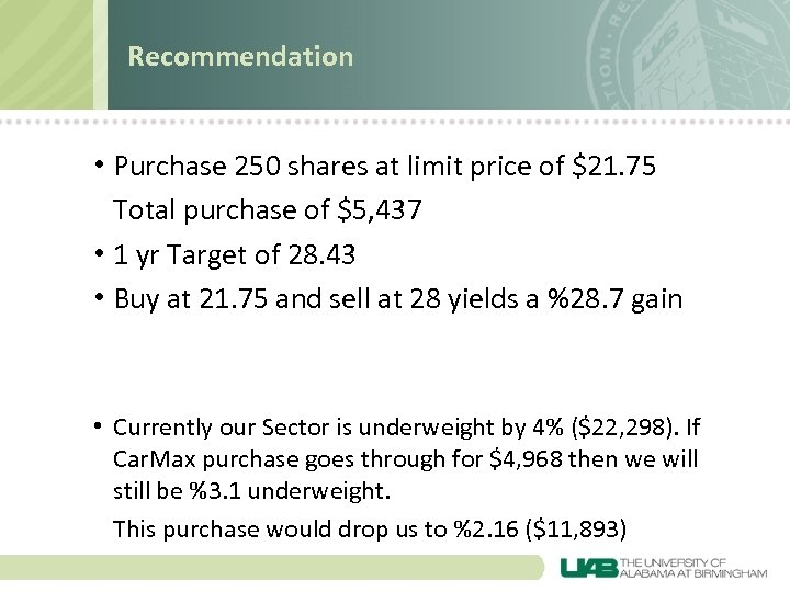 Recommendation • Purchase 250 shares at limit price of $21. 75 Total purchase of
