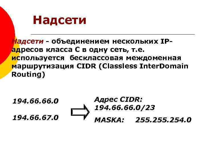 Надсети - объединением нескольких IPадресов класса С в одну сеть, т. е. используется бесклассовая